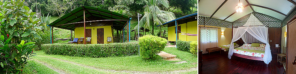 Las Adventure lodges del Cristal Ballena son cabañas privadas en medio del bosque tropical.