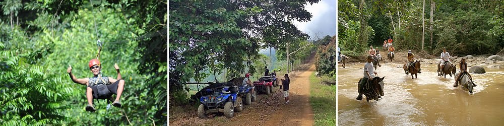 Enjoy zip lining, ATV tours, horseback riding