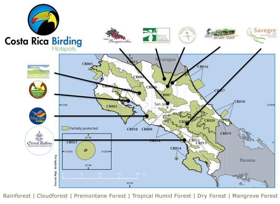 Lage der 'Birding Hotspots Hotels' in Costa Rica auf der Karte der wichtigen Vogeleinzugsgebiete der Organisation BirdLife.org